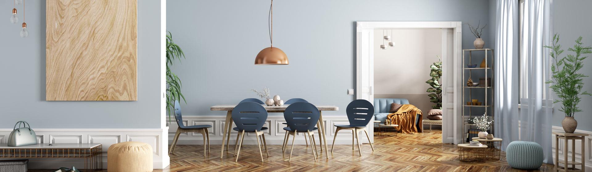 Comedor de una casa decorado estilo nórdico