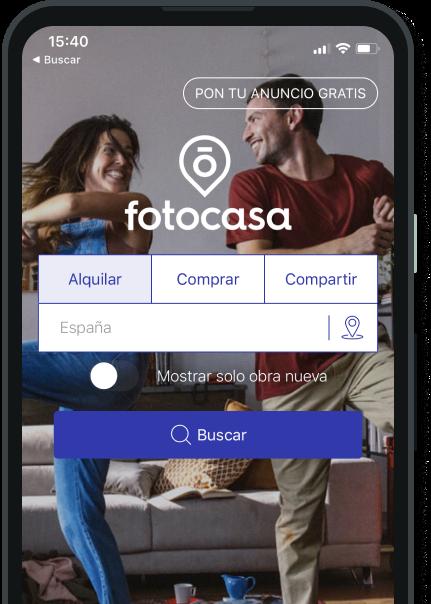 Detalle de un móvil mostrando la web de fotocasa
