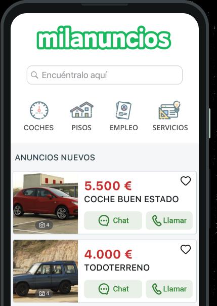 Detalle de un móvil mostrando la web de milanuncios.com