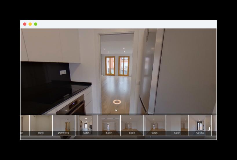 Ejemplo de como se ve un Tour 3D en un navegador web