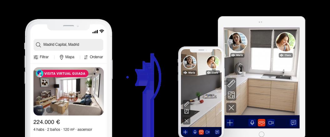 Móvil que muestra la opción de activar la vista express y el ejemplo de como se vería en móvil o tableta
